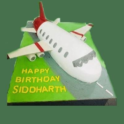 Aeroplane shape birthday cake