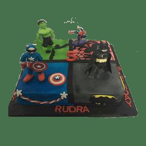super heroes birthday cake