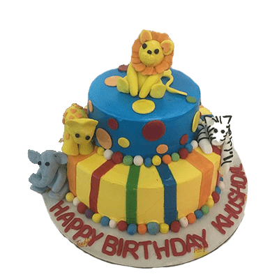 children wildlife birthday cake