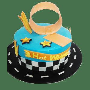 Hot wheels blue birthday cake