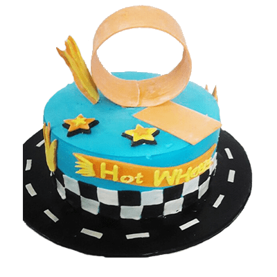 Hot wheels blue birthday cake
