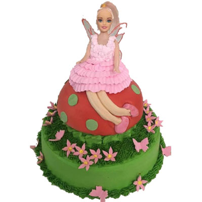 Small Pink-Fairy Birthday Cake