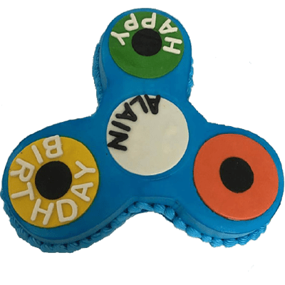 Blue Fidget Spinner Birthday Cake